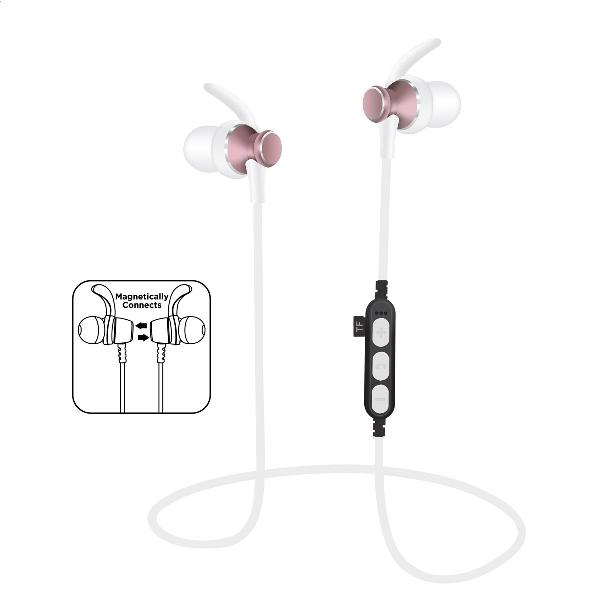 Platinet In-Ear Earphones Bluetooth V4.2 + microSD + MIC - model 1062 met oorclip - Pink