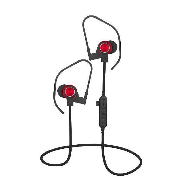 Platinet In-Ear Earphones Bluetooth V4.2 + microSD + MIC - model 1062 met oorhaak - Rood
