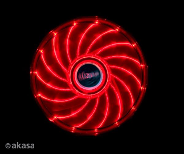 Akasa 12cm Vegas 15 Red LED fan with anti-vibe dampening pads, sleeve bearing