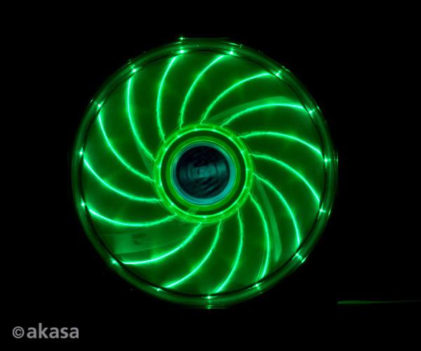 Akasa 12cm Vegas 15 Green LED fan with anti-vibe dampening pads, sleeve bearing