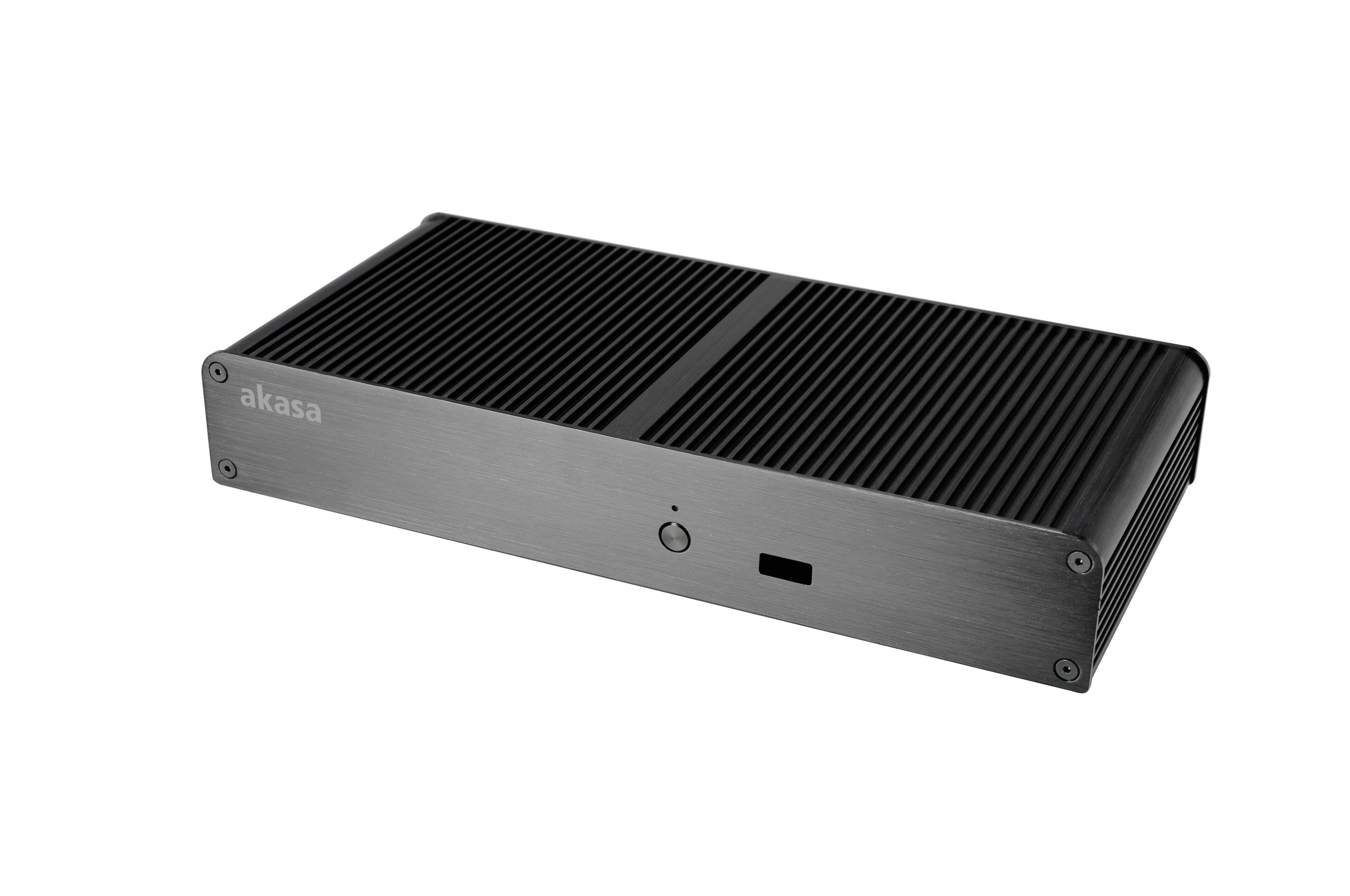 Akasa Tesla T, Fanless solid Ali case for Intel NUC (Board Specific)+2.5 HDD/SSD, VGA, 2xSerial w/ 36W Power Adpt