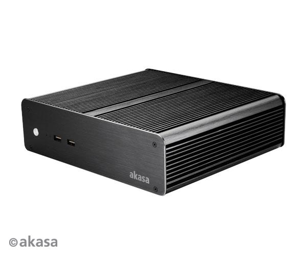 Akasa Euler T, Fanless Ali Thin Mini ITX Case, 2 x Frt USB 3.0, CEF, VESA with 3x2.5 HDD/SSD and 1x RS232, 120W Adpt support