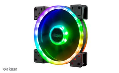Akasa 14cm TWIN Loop, Dual Sided Addressable RGB LED Fan, Vegas TLX (ASUS Aura, MSI Mystic Light Sync, Gigabyte Fusion, ASRock Cert.)