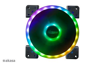 Akasa 14cm TWIN Loop, Dual Sided RGB LED Fan, Vegas TL (ASUS Aura, MSI Mystic Light Sync, Gigabyte Fusion, ASRock Cert.)