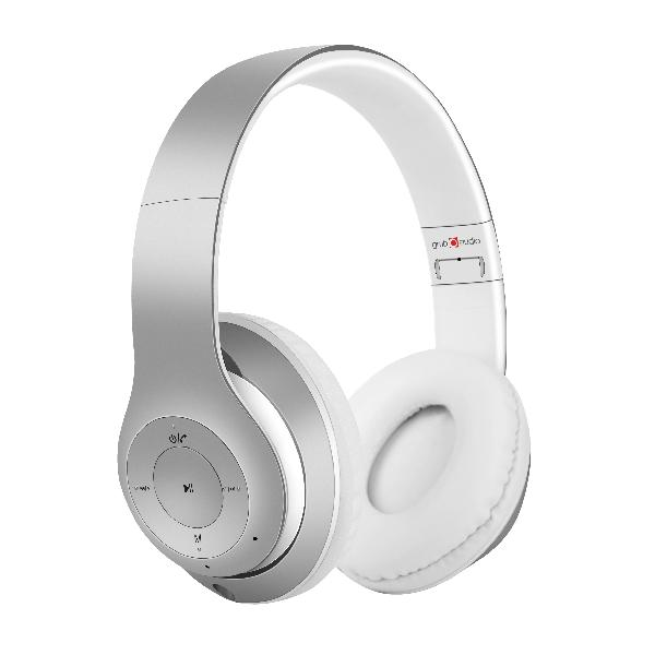 Gembird Stereo Bluetooth headset -Milano- Silver, geintegreerde microfoon, 500 uur standby, 6 uur gebruik, kan ook bedraad gebruikt worden ***