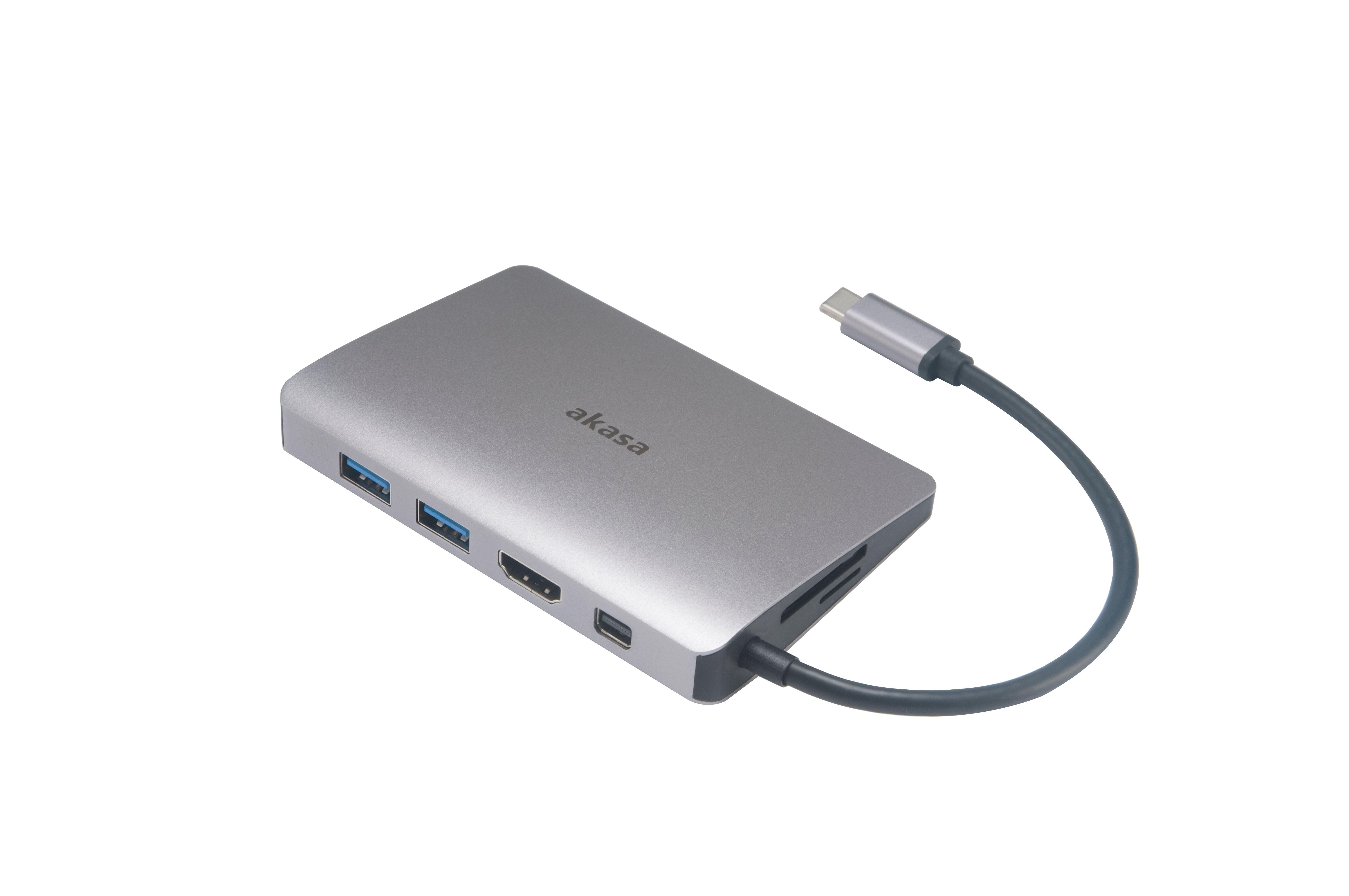 Akasa USB C 3.1 9 In 1 Dock (USB C (Power) x1, USB 3.1 USB A x2/SD,Micro SD Card Reader/4K HDMI/GbE/ Mini DP/Audio)