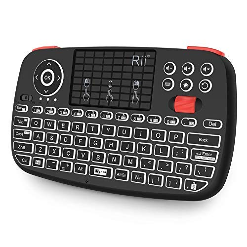 Rii i4 Bluetooth en 2.4GHz Mini Wireless Keyboard met Touchpad Mouse Combo, LED Backlit, Rechargable Li-ion Battery