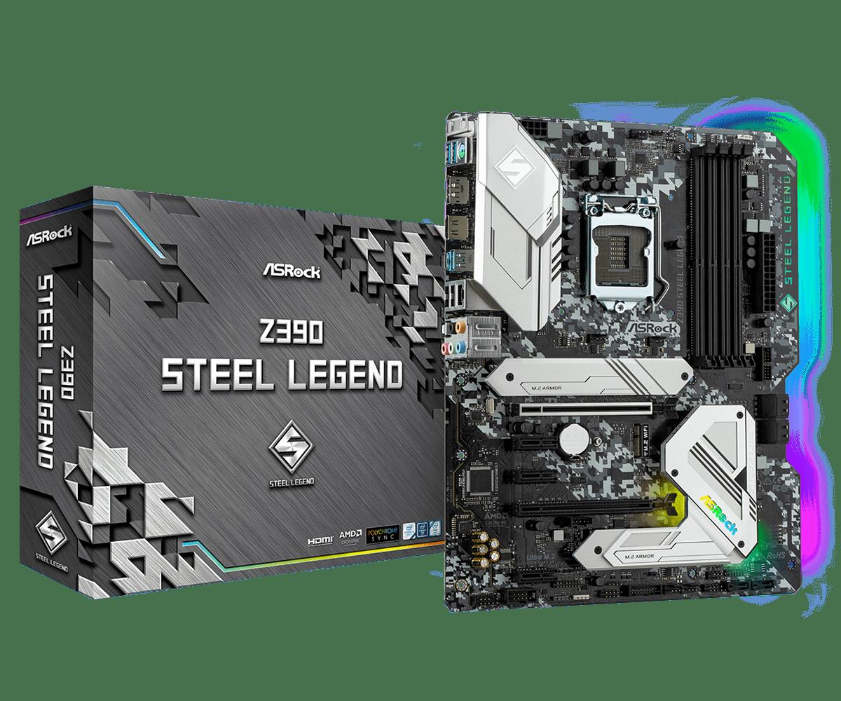 ASRock Z390 Steel Legend ATX, 4xDDDR4 4266 USB3.2 SATA3, RGB