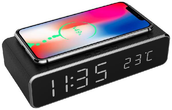 Gembird digitale wekker met draadloze laadfunctie voor smartphone (oa iPhone X / XS / XR / 8, Galaxy S8 / S7 / S6) - zwart geeft tijd en temperatuur weer