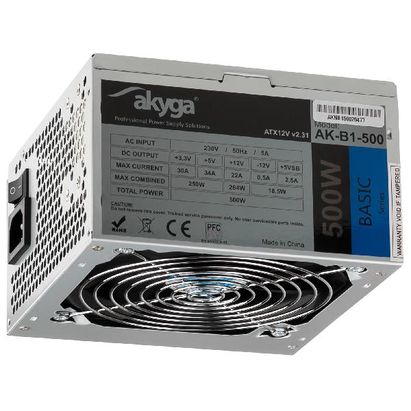 Akyga AK-B1-500, 500W ATX Power supply, P4, PCI-E 6+2 pin, 3x SATA, 2x Molex, PPFC, FAN 12cm