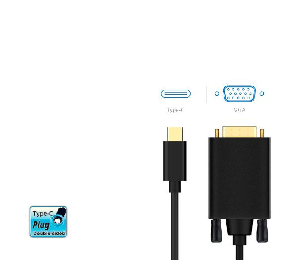 Akasa Type C to VGA M Cable Adapter, (1920x1080@60Hz), 1.8 meters,