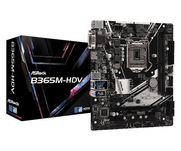 Asrock B365M HDV, Micro ATX, Socket 1151, 2 X DDR4, 6 x SATA3, 6 x USB3, 1 x PCI-EX16, DVI-D, HDMI, VGA, 1 x M.2