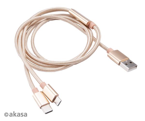 Akasa USB 2.0 Cable , 2in1 USB A - Micro USB B/USB C, 1,2m , *USBA , *MUSBB , *USBC