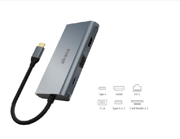 Akasa USB C 3.1 9 in 1 Dock (USB C (Power), HDMI, VGA, 3x USB A 3.0, RJ45, SD & Micro SD Card Reader)