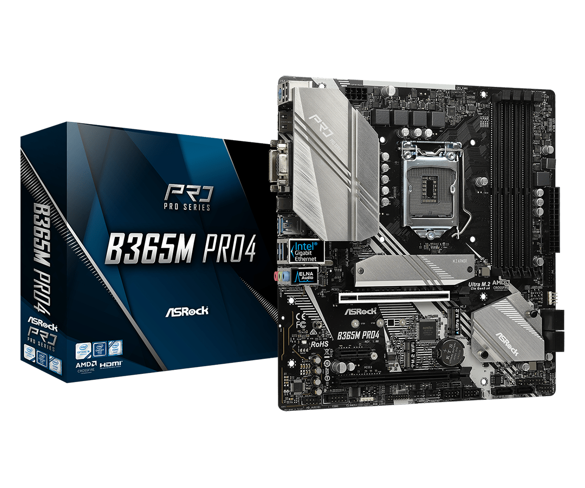 Asrock B365M Pro4 - Moederbord - Micro-ATX - Intel B365 - LGA1151 - HDMI, VGA, DVI - USB Type C