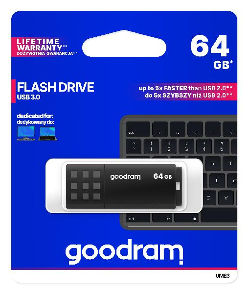GOODRAM USB3.0 Flash Drive, 64 GB, UME3, USB A connector, Black, 60/20 MB/s (USB3/2/1.1 comp)