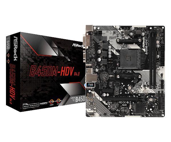 Asrock B450M-HDV R4.0, M-ATX, AM4, 2xDDR4 3200, 4x SATA3, 1xM.2, 6 x USB3.1 gen1, Realtek Gigbit LAN