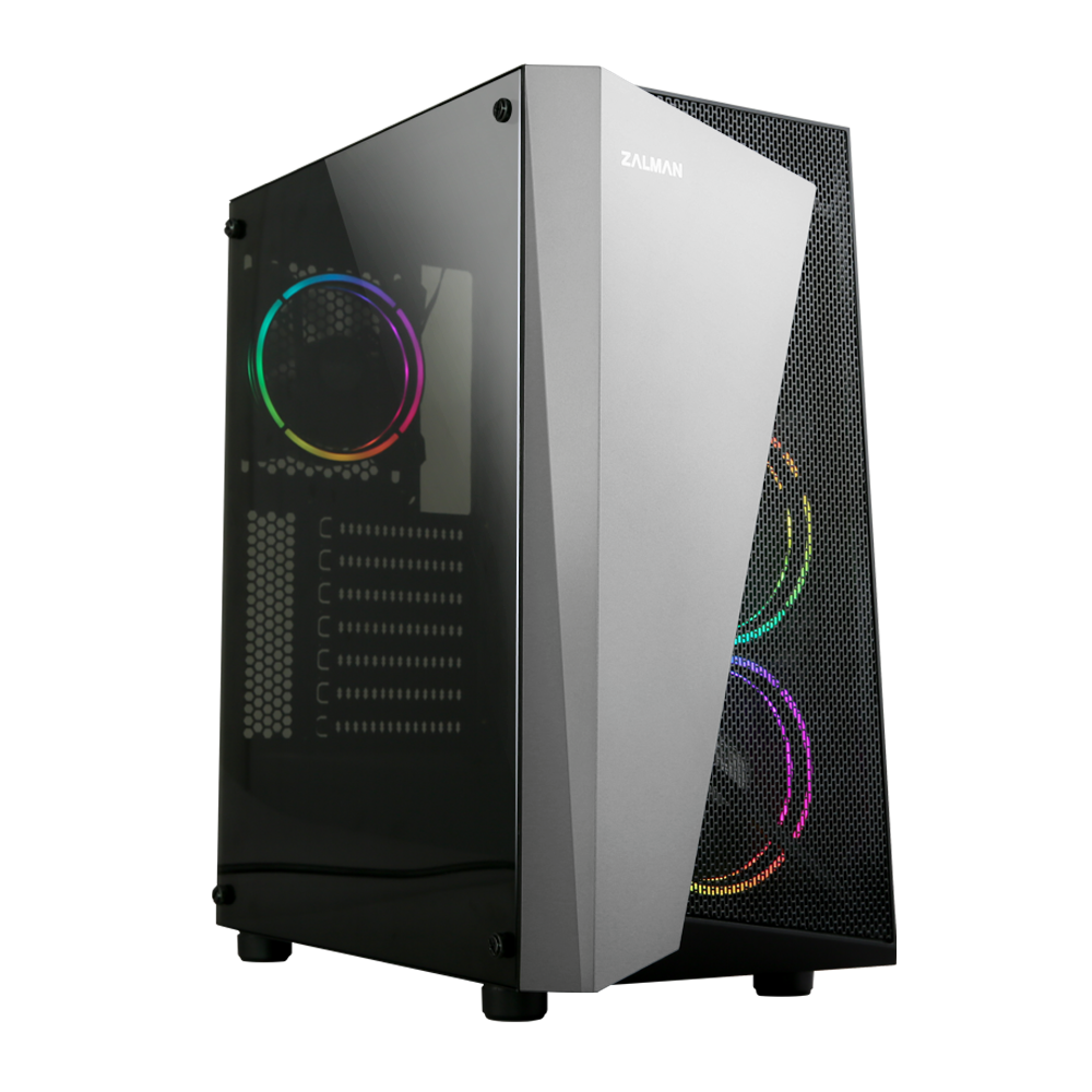 Zalman S4 Plus, ATX Mid-Tower Case / - Acrylic side panel / - Pre-installed fan: 2x 120mm RGB(Front), / 1x 120mm RGB((Rear) / - Radiator support: 120/240(Front), 120mm(Rear) / - Mesh front for efficient air ventilation / - Bottom PSU Installa