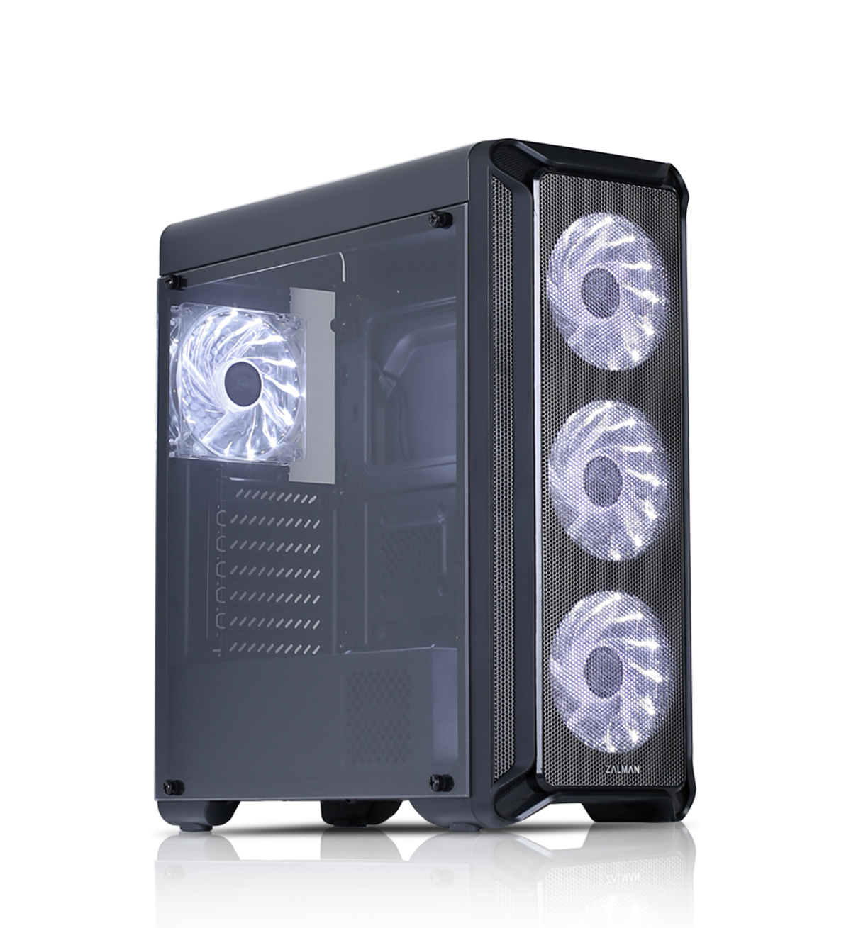 Zalman I3 ATX Mid Tower PC Case, Mesh front for efficient cooling, Pre-installed fan: 3 x 120mm white LED front, 1 x 120mm white LED rear, 2 x 3.5, 3 x 2.5, Arcyl window left, 457(D) x 195(W) x 467(H)mm