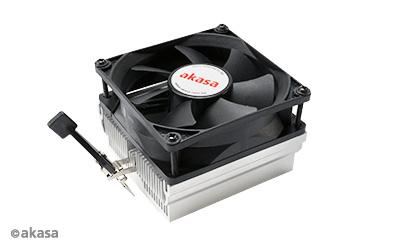 Akasa CPU Cooler for AMD, 95W TDP, AM2/3/4, FM1/2/3. Alu heatsink, 80 mm FAN