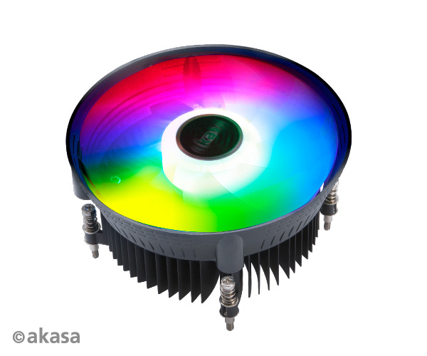 Akasa Vegas Chroma LG Addressable RGB Fan Intel CPU cooler. Socket 115X, TDP 95 Watt, 120 mm PWM fan.