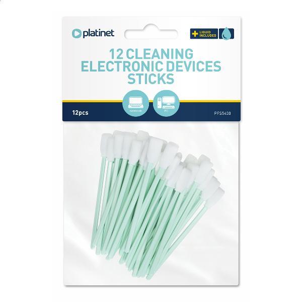 Platinet cleaning sticks (12 stuks) voor toetsenborden met 2 x 2ml flesje schoonmaakvloeistof.
