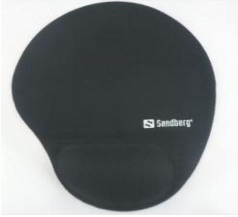 Epsilon muismat met polssteun 250x215 mm, 23mm dik, glanzend stoffen bekleding op anti-slip materiaal - memory foam gevuld, per 100 stuks - bedrukt met logo naar keuze