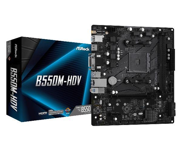 Asrock B550M HDV, microATX, AM4, 2xDDR4, 4x SATA3, 2x M.2, 6x USB3.2 gen1, Realtek Gigbit LAN