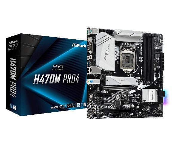 ASRock H470M Pro4, Intel H470, Socket 1200, M-ATX, HDMI,DP, 4xDDR4, 2 x PCIe-ex 16, retail