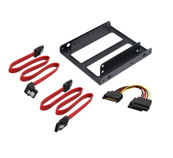 Akasa Dual 2.5 SDD/HDD mounting module for 3.5 bay with SATA cables