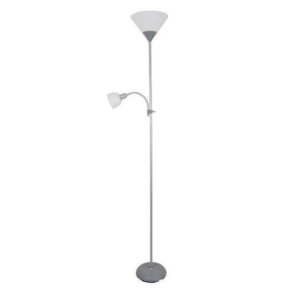 Platinet vloerlamp E27 + E14 - grijs