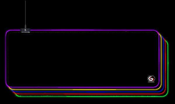 Gembird Gaming muismat met LED lichteffect, 300 x 800 x 4 mm, LED light: 10 modes, cable 1,5m