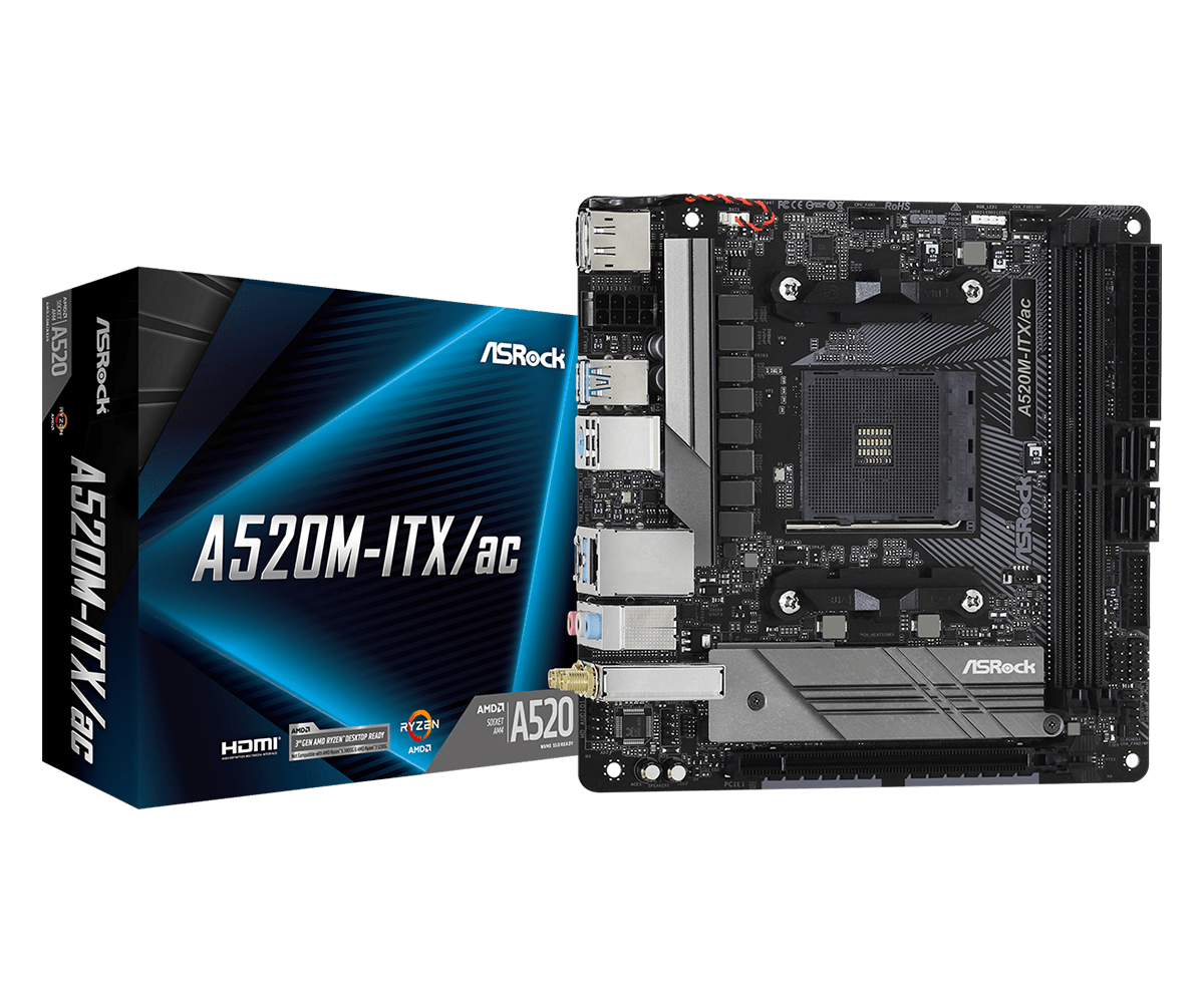 ASRock A520M-ITX/ac - Motherboard - Mini-ITX - Socket AM4 - AMD A520 DDR4