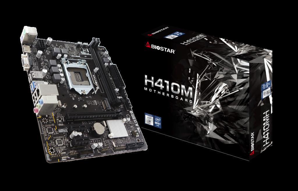 Biostar H410MH Micro-ATX Mainboard, Socket 1200 (10th gen), H410 chipset - M.2/HDMI/VGA/, 4 x SATA