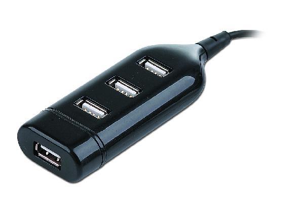 Gembird 4 poorts USB 2.0 hub - compact - ingebouwde kabel - plug and play