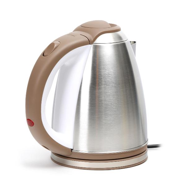 Omega electrische waterkoker - 1500W - geborsteld roestvrij staal look met wit/beige afwerking