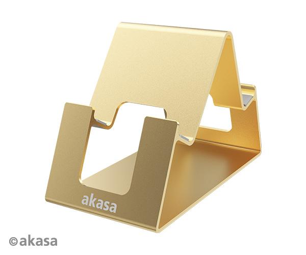 Akasa Aries Pico, aluminum phone & talbet stand, gold color