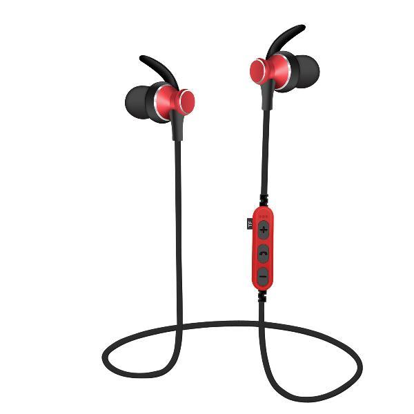 Platinet In-Ear Earphones Bluetooth V4.2 + microSD + MIC - model 1062 met oorclip - Rood