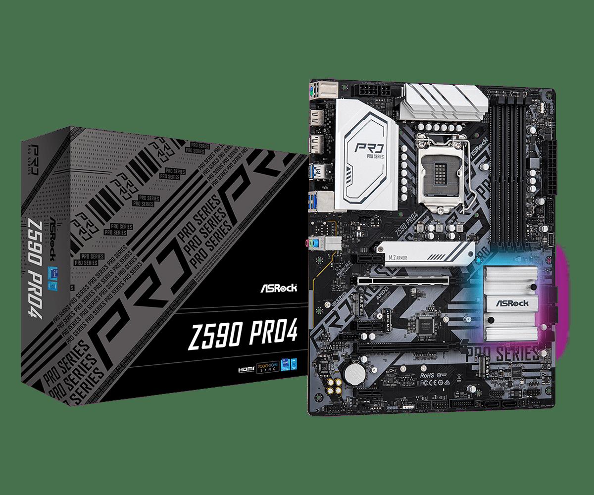 ASRock Z590 Pro4 Motherboard - ATX - LGA1200-Socket,4xDDR4,6x SATA3,2xM.2 NVMe,2x USB3.1 gen2,6 x USB3.1 gen1,Realtek RTL8125BG