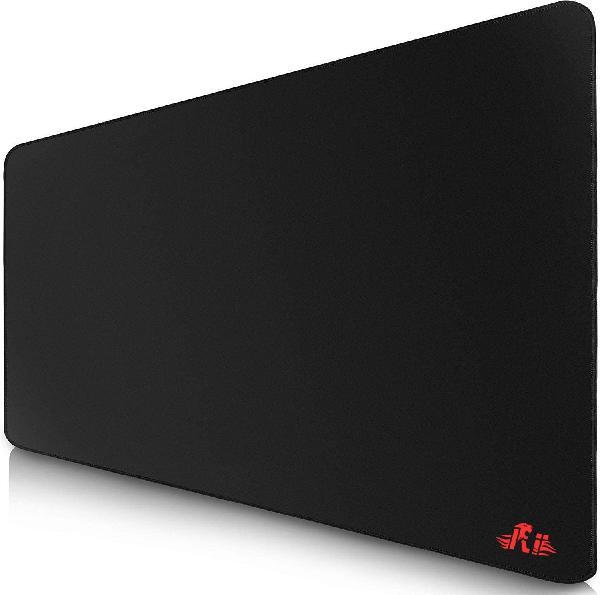 Rii muismat 400x900 mm, 3mm dik, glanzend stoffen bekleding op rubber, aan de rand gestikt - rood Rii logo