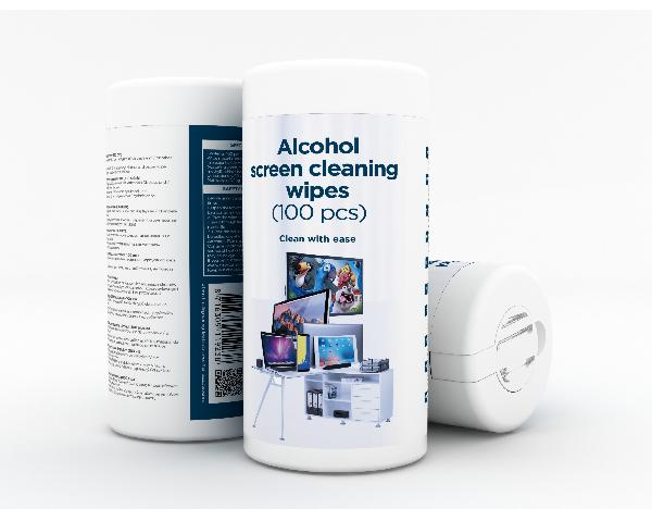 Gembird anti-statische schermreinigingsdoekjes, alcohol - 70% IPA, micro-fiber papier (100 stuks)