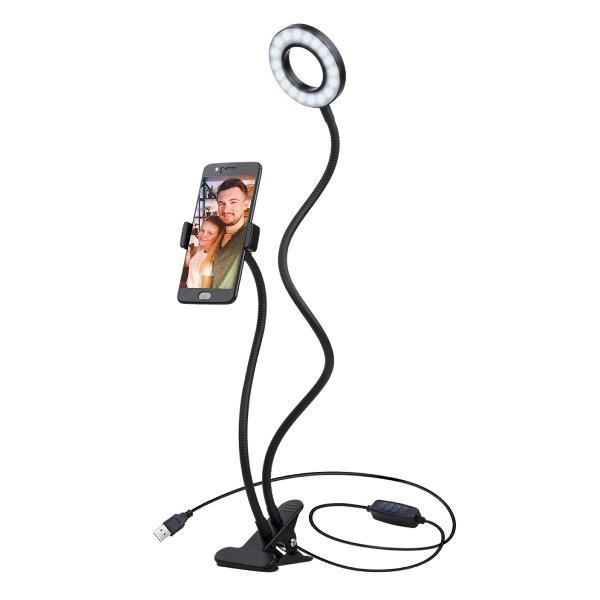 Platinet 3 inch Vlog LED ringlamp (24 LEDs) op clip, inclusief phone holder - 3000K-4500K-6000K instelbaar, 1,9m? USB kabel met schakelaar inbegrepen