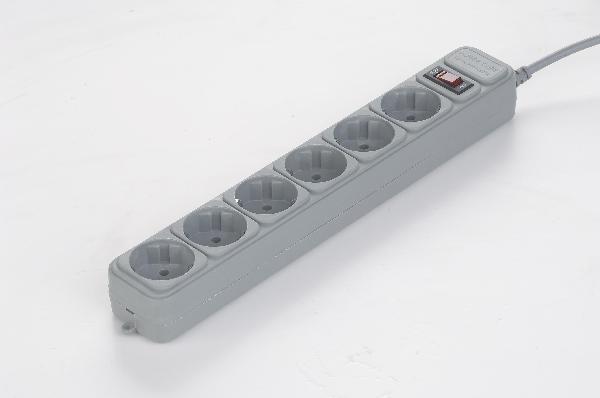 Gembird stekker verdeeldoos, met surge protector, 6 sockets, 3 meter, aan/uit schakelaar, wit/beige