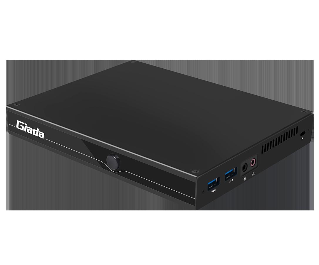 Giada MiniPC barebone F106D-FV fanless, Intel Celeron N5100, UHD Graphics, Onboard 4 GB LPDDR4, 1x M.2, 1x mSata, 2x GBit LAN RTL8111H, 4 x USB2, 2x USB3.1 Gen2, HDMI, DP, RS232, M.2 for Wifi, SIM-slot