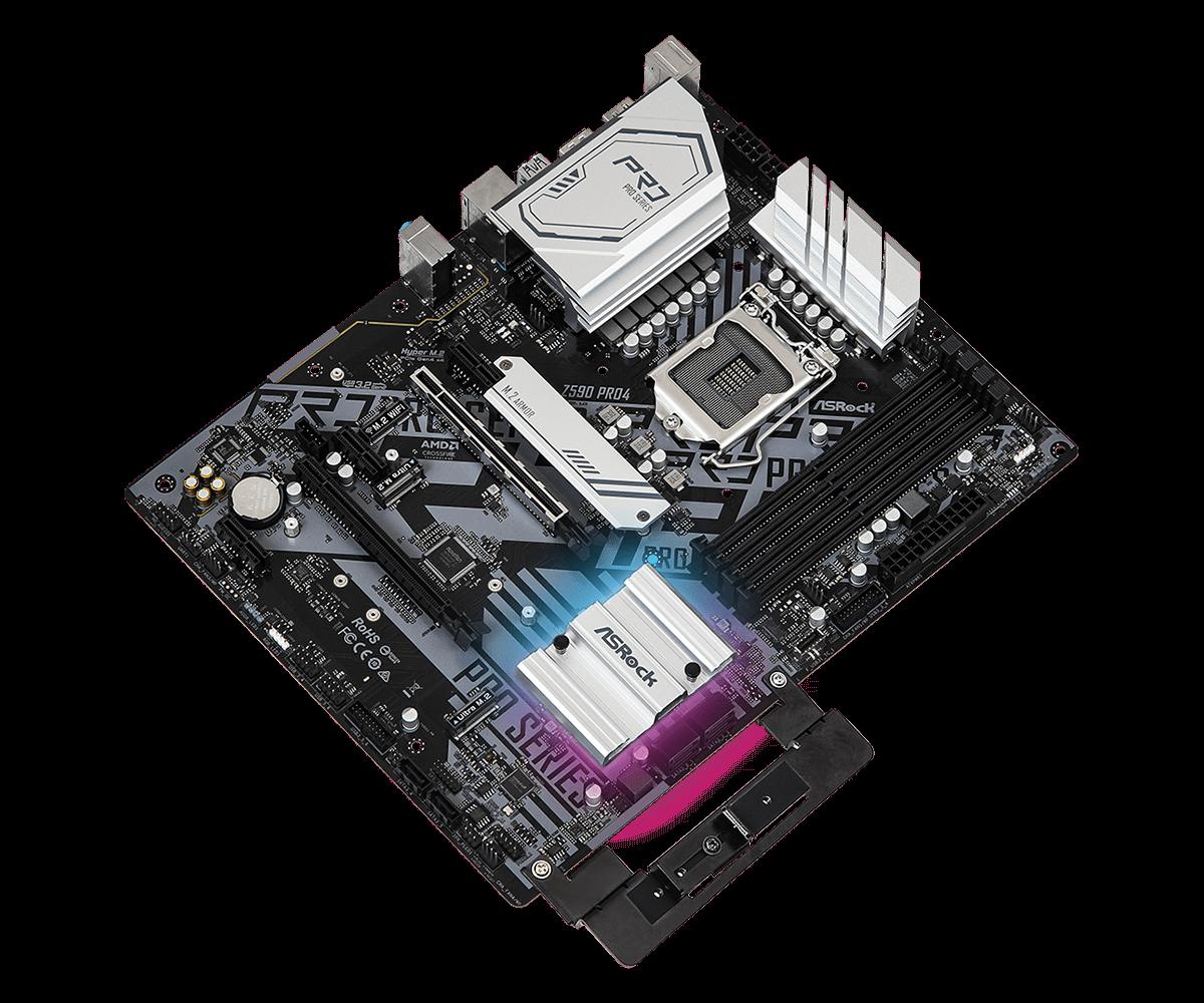 ASRock Z590 Pro4 Motherboard - ATX - LGA1200-Socket,4xDDR4,6x SATA3,2xM.2 NVMe,2x USB 3.2 - 2.5 Gigabit LAN